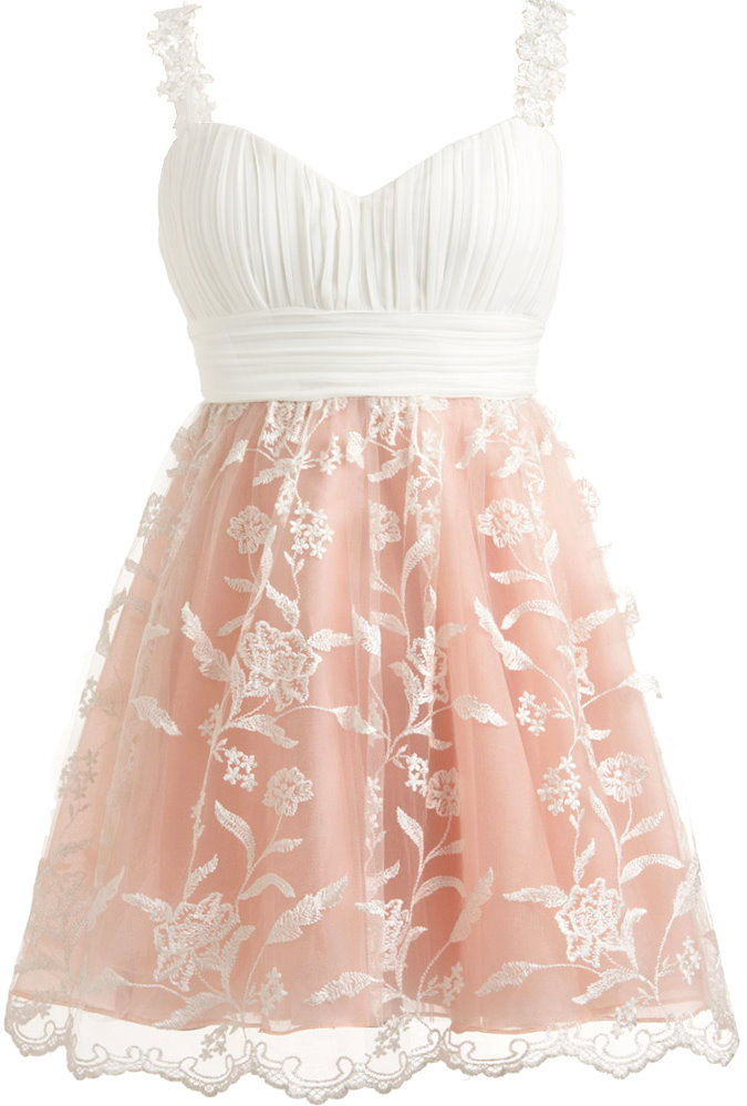 White Sweetheart Neck Lace Strap Fit-And-Flare Pink Princess Prom Dress