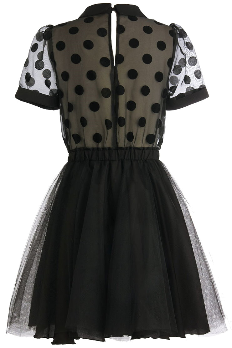 Black Peter Pan Collared Polka Dot Fit And Flare Dress