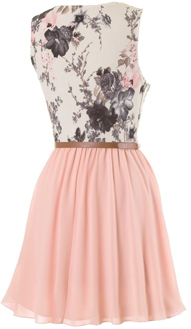 Peach Floral Print Belted Fit-And-Flare Summer Dress
