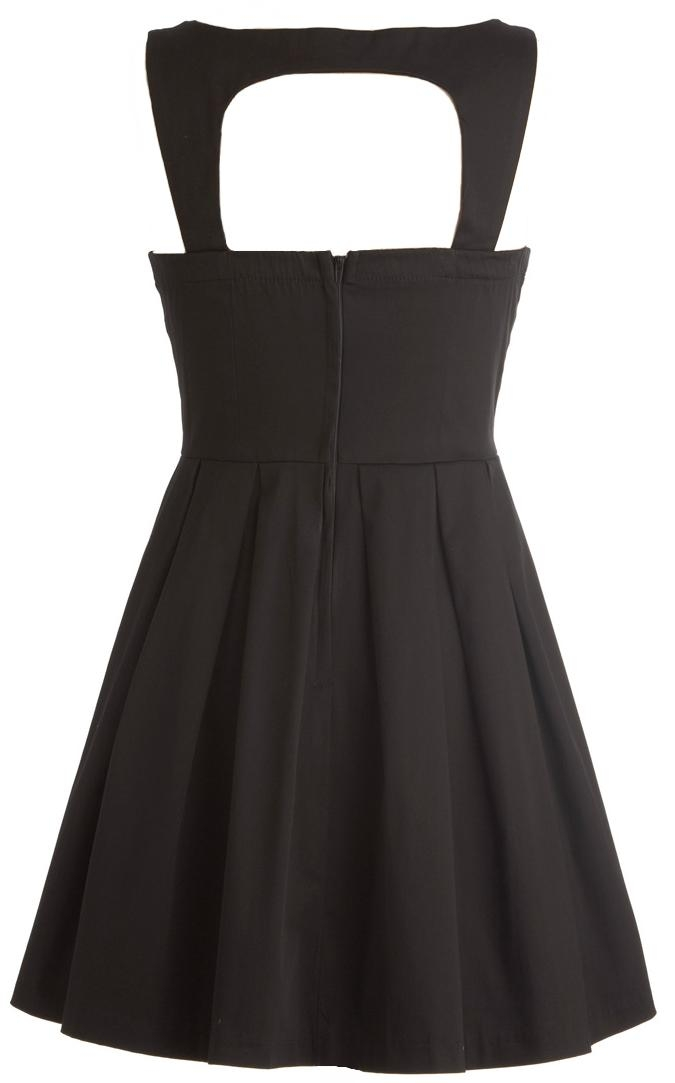 Black Cutout Sweetheart Neck A-Line Vintage Style Dress