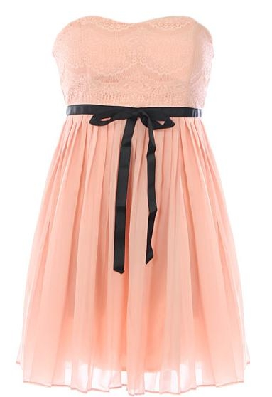 Strapless Pink Lace Contrast Ribbon Short Homecoming Dress