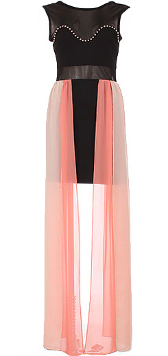 Black Pink Studded Sweetheart Bodice Long Chiffon Maxi Dress