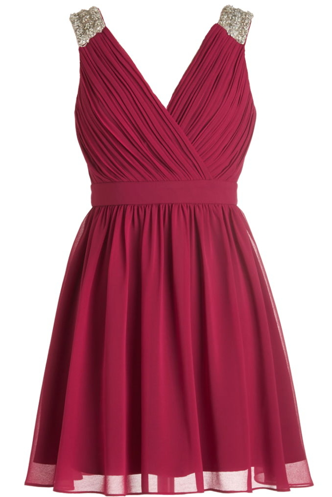 Dark Red V-Neck Embellished Shoulder A-Line Vintage Chiffon Dress