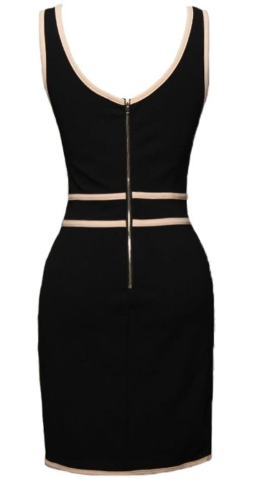 Black Nude Sexy Striped Sleeveless Fitted Bandage Dress