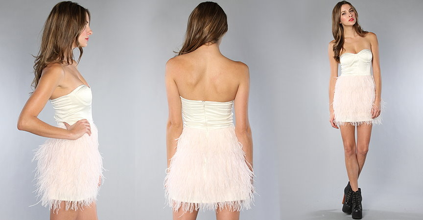 Satin Pink Sweetheart Neck Feather Embellished Teen Homecoming Dress