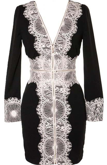 Long-Sleeved Black White Contrast Lace V-Neck Bodycon Dress