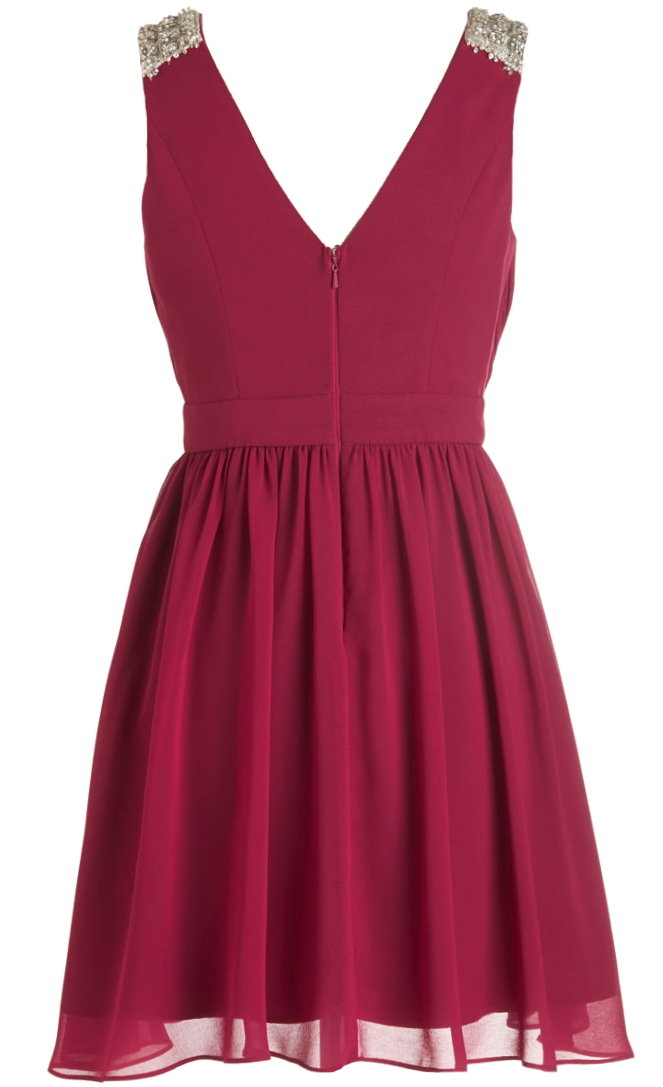 Burgundy Red Bead Embellished Surplice Bodice Chiffon Skater Dress