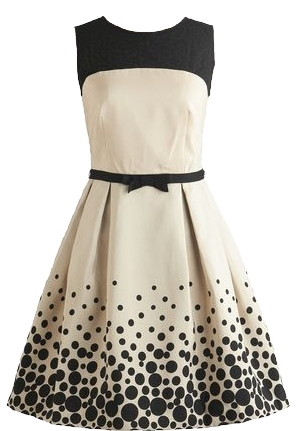 Cream Black Polka Dot A-Line Dress