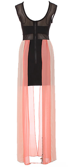 Longer Length Pink And Black Mesh Maxi Dress