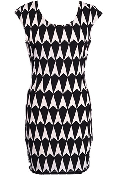 Black White Geometric Print Cap Sleeve Short Fitted Bodycon Dress