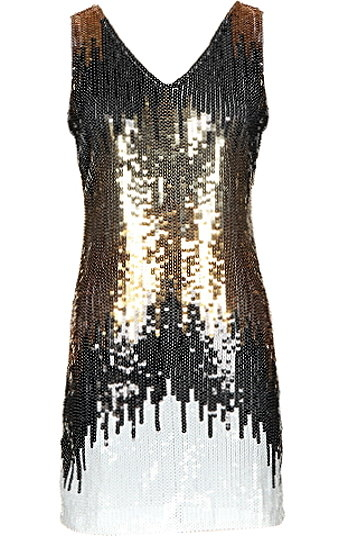 Sleeveless V-Neck White Gold Sequin Flapper Shift Dress