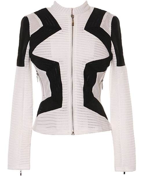 White Black Geometric Lines Breathable Mesh Cropped Women's Blazer