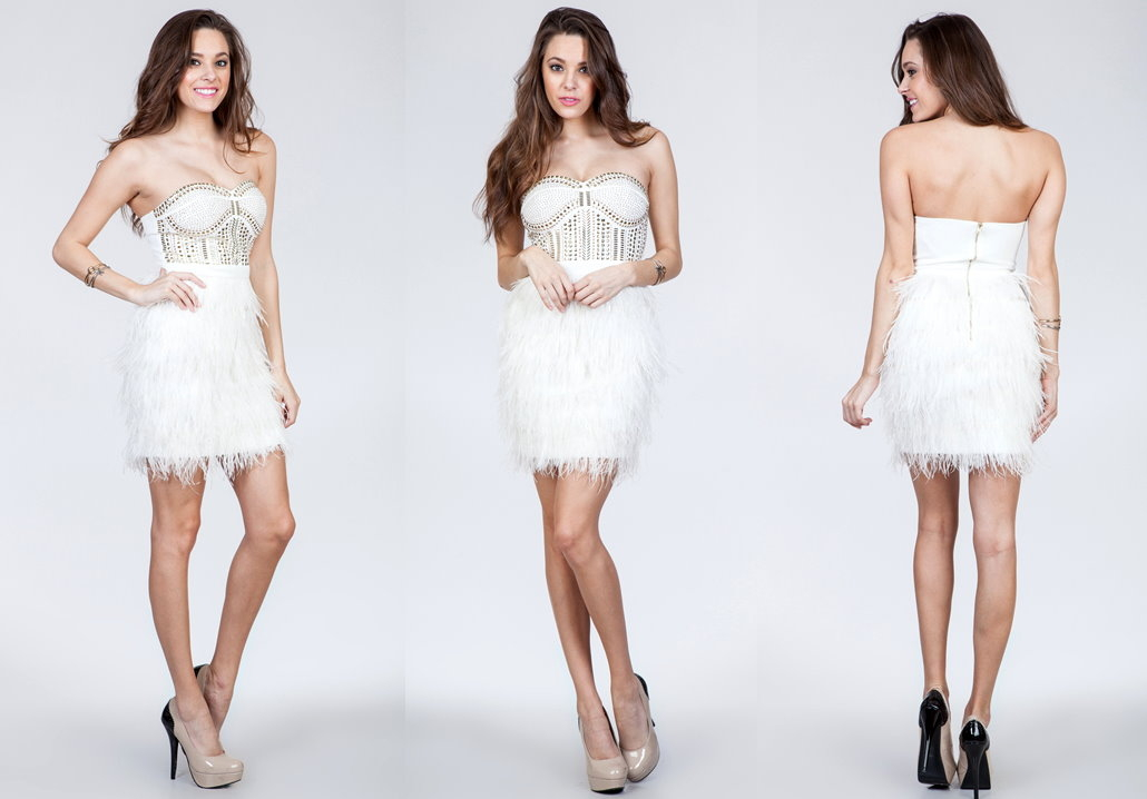 Strapless White Feather Embellished Short Prom Dress