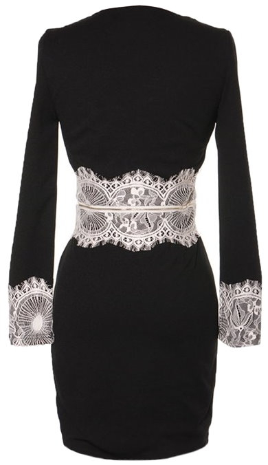 Black V-Neck Contrast Lace Fitted Cocktail Dress