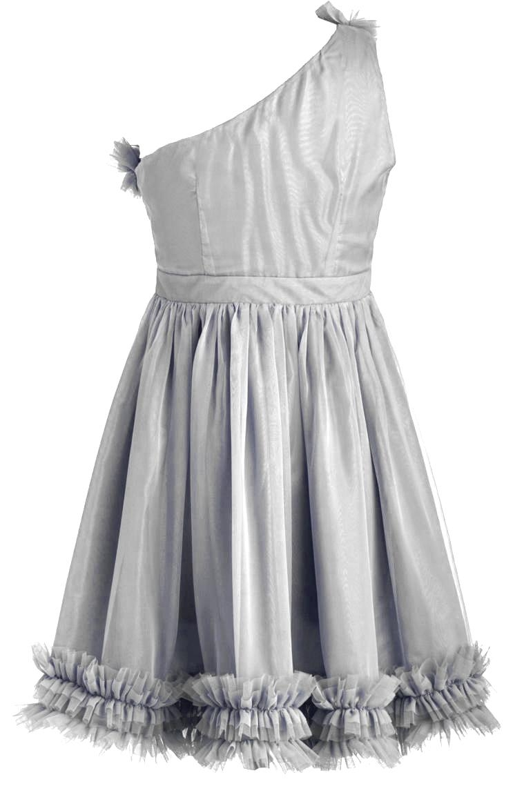 Gray One-Shoulder Ruffled Chiffon Quinceañera Homecoming Dress