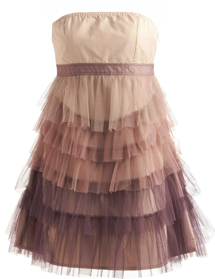 Strapless Purple Ombre Ruffled Mesh Tiered Short Bridesmaid Dress