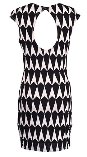 Black And White Monochrome Print Body Con Dress