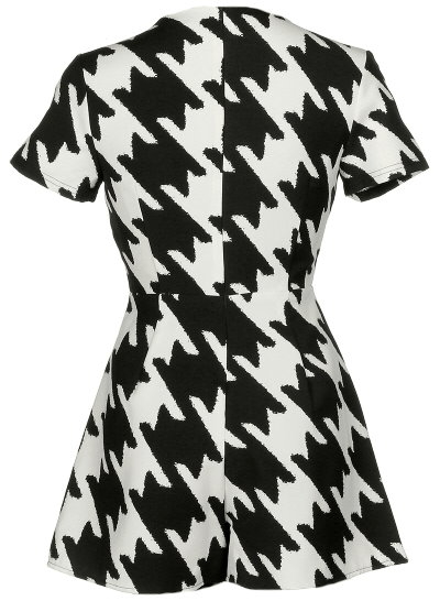 Black White Graphic Print Short Sleeve Playsuit