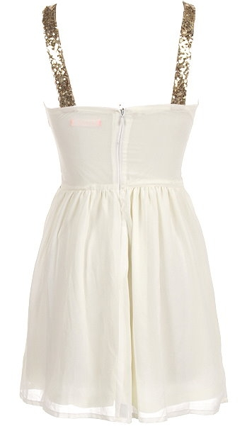 Gold White Sequin Waist Short Skater Party Dress
