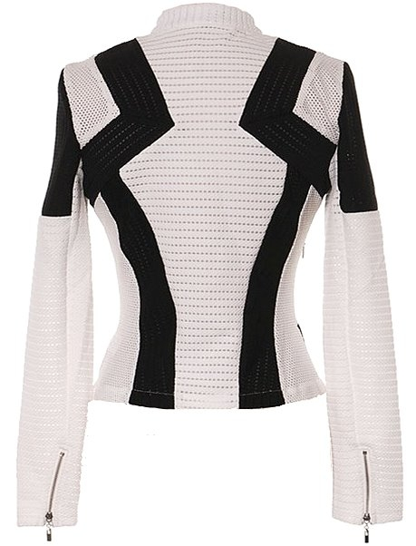 White Black Bold Striped Women's Cropped Long-Sleeve Blazer
