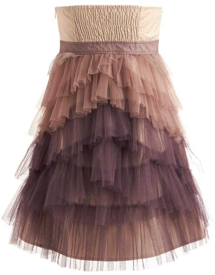 Strapless Ombre Tiered Ruffled Layered Mesh Homecoming Dress