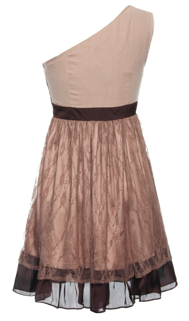 One-Shoulder Pleated Beige Brown Belted Formal Skater Dress