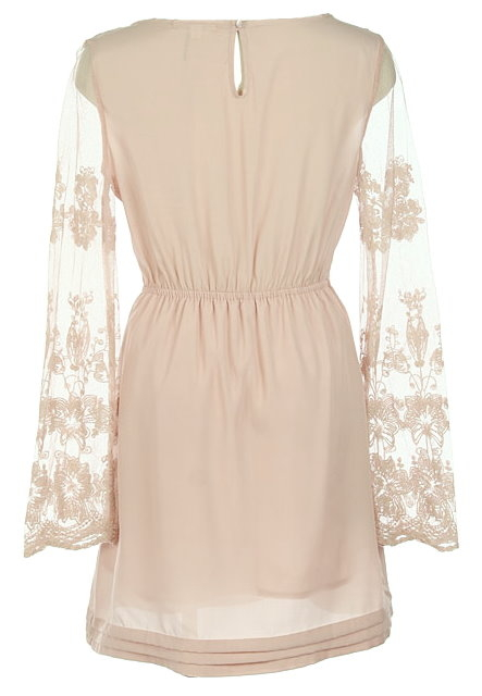 Cream Lace Fit-And-Flare Dress With Long Sleeves