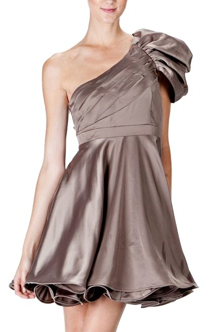 One-Shoulder Satin Semi Formal Dress Prom Homecoming