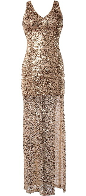 Gold Sequin Fitted Floor-Length Prom Gown Maxi Dress