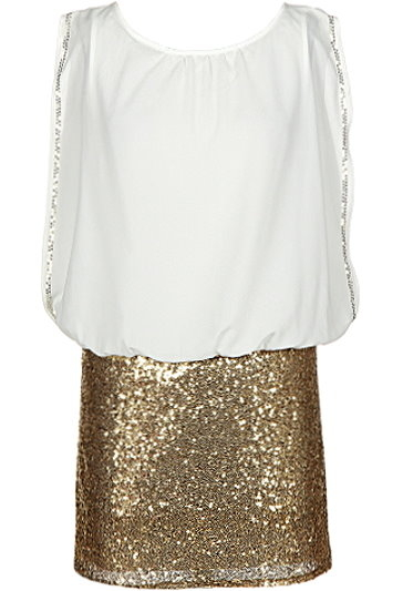 White Flowy Chiffon Top Gold Sequin Skirt Party Dress