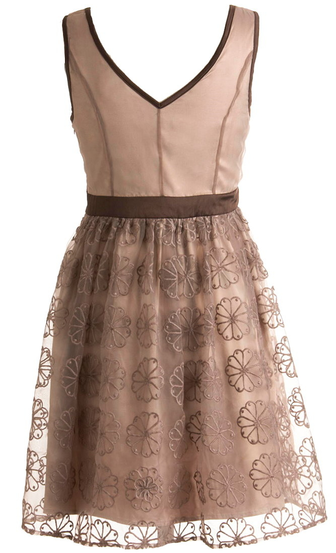 Brown Floral Embroidered Scoop Neck Short Bridesmaid Dress