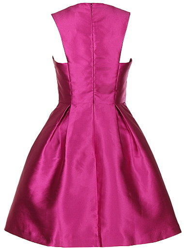 Magenta Pink Satin Fit-And-Flare Knee-Length Homecoming Dress