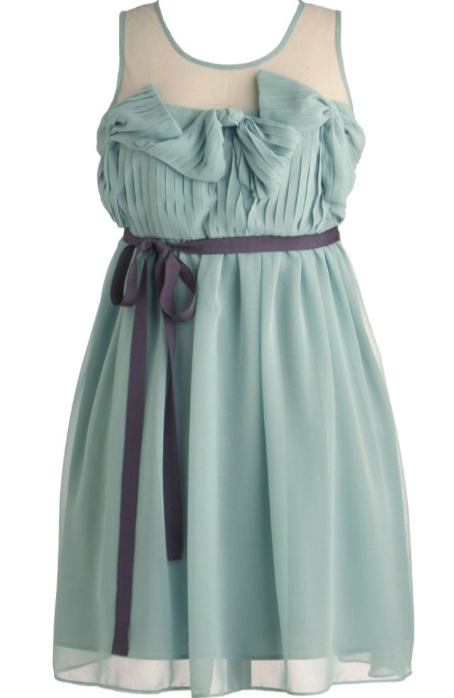 Mint Green Mesh Chiffon Bow-Tie A-Line Bridesmaid Dress