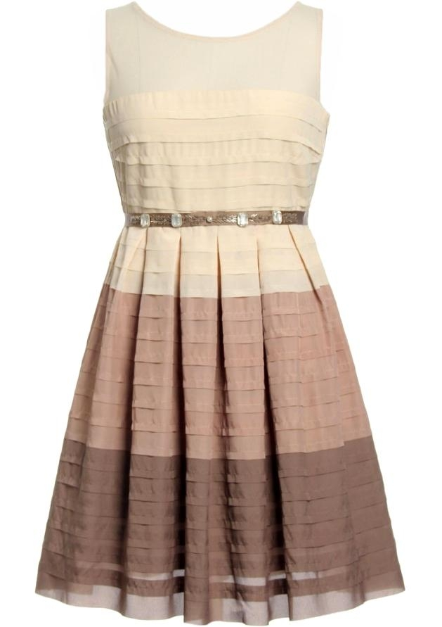 Ivory Mocha Brown Pleated A-Line Ribbon Belt Bridesmaid Dress