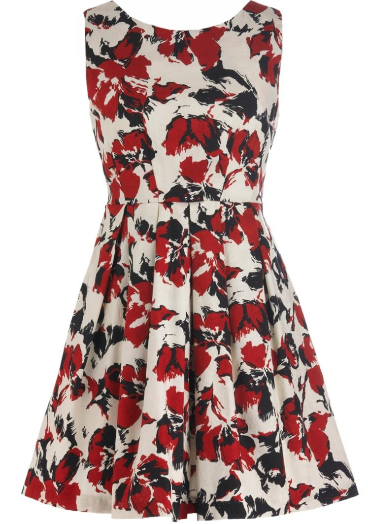Vintage Floral Print Red White Watercolor A-Line Dress