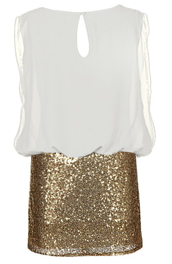 White Gold Chiffon Top Sequin Skirt Twofer Dress