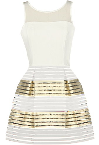 White Mesh Gold Metallic Hem Homecoming Party Skater Dress