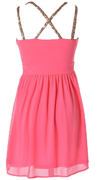 Hot Pink Sequin Accent Silk Chiffon Homecoming Dress