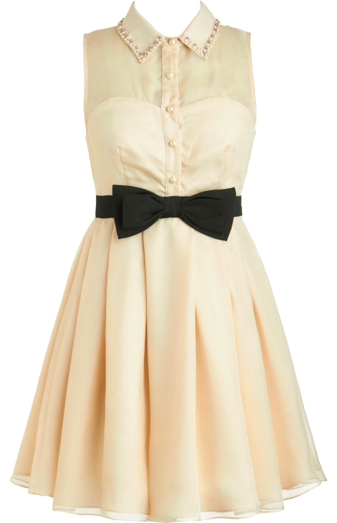 Ivory Embellished Collar Mesh Sweetheart Bodice Bow-Belt Skater Dress