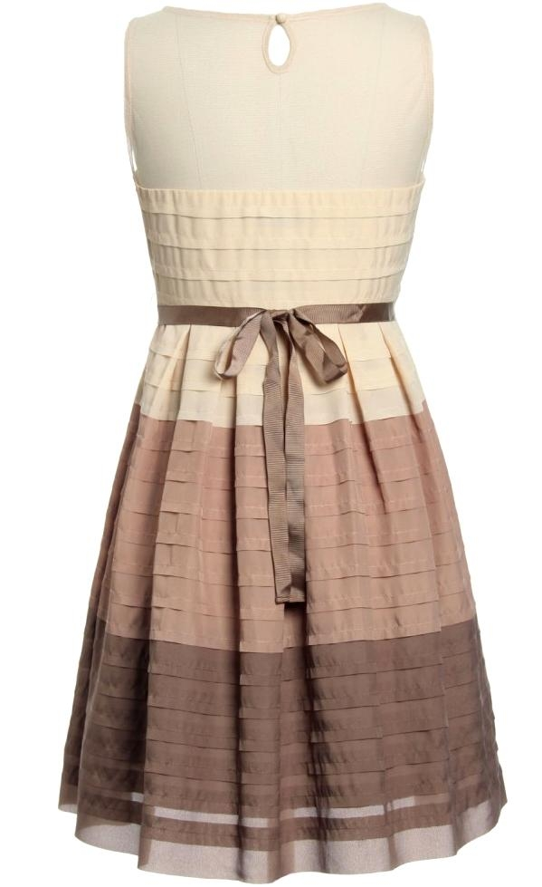 Vintage Cream Brown Pleated Belted Fit And Flare Skater Dress