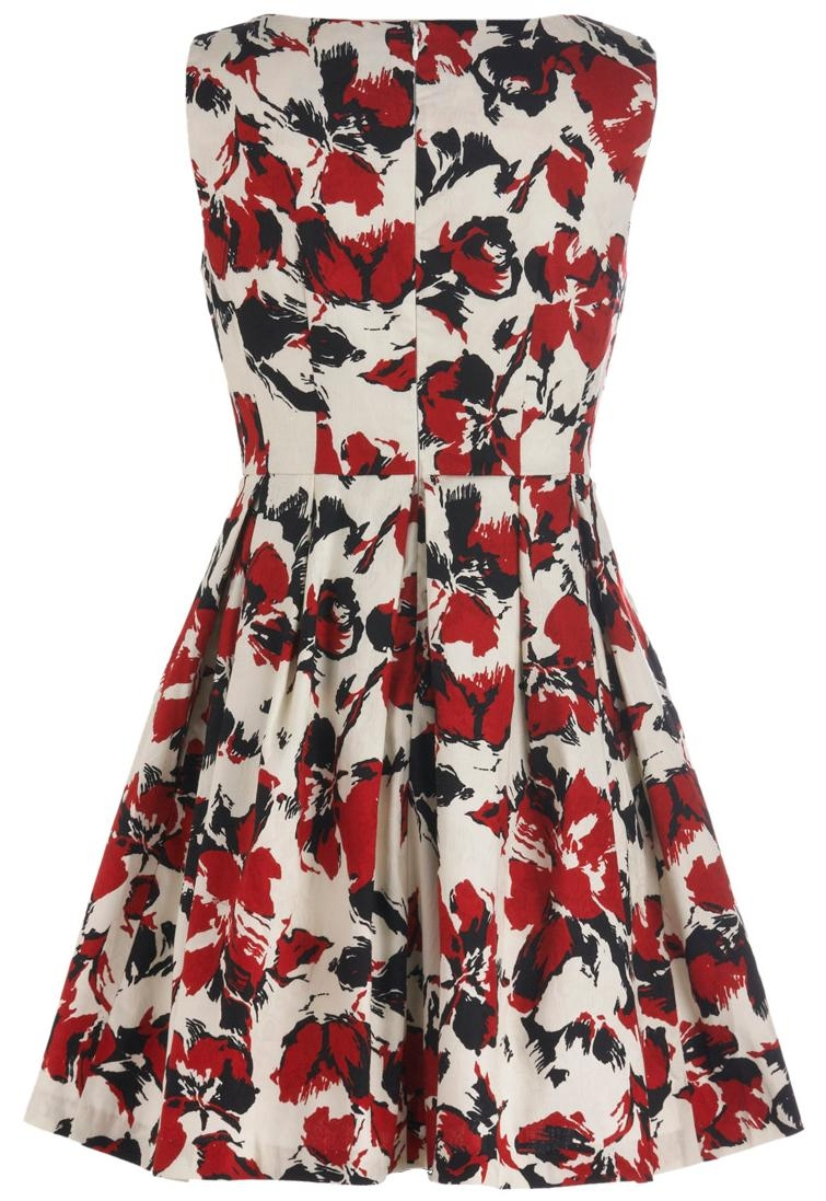 Mod White Red Floral Print Fit-And-Flare Skater Dress