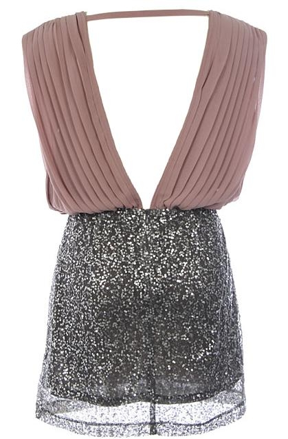Brown Silver Chiffon Sequin Office Party Mini Dress