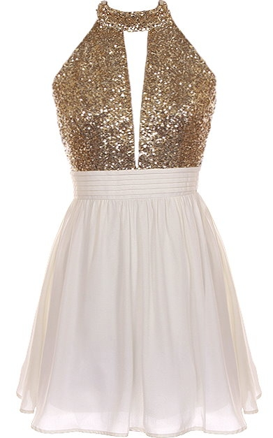 Ivory Gold Sequin Halter Neck Party Dress