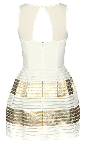 Sleeveless White Gold Mesh Striped Babydoll Fit-And-Flare Dress