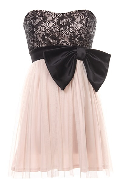 Strapless Pink Black Lace Bow-Front Party Dress