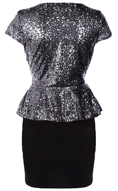 Sparkling Silver Short Sleeve Peplum Waist Bodycon Dress