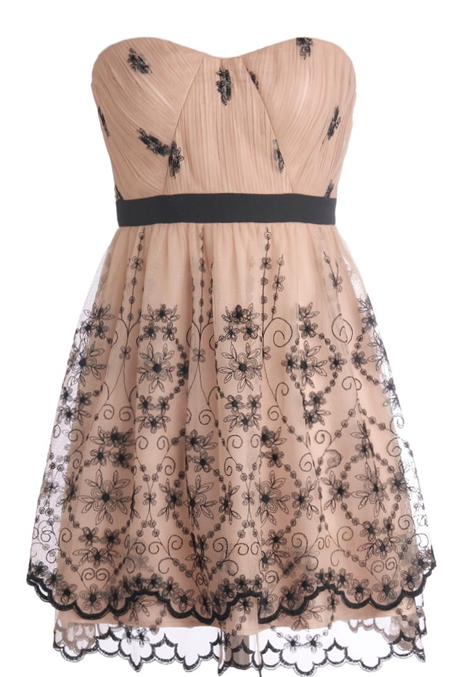 Strapless Vintage Pink Sweetheart Neck Floral Embroidered Homecoming Dress