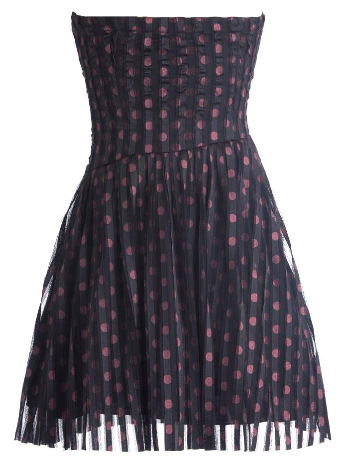 Strapless Sweetheart Navy Blue Bow Accented Polka Dot Prom Dress