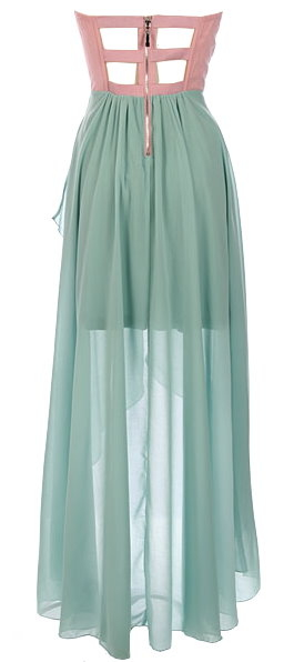 Strapless Pink Green Chiffon Hi-Low Midi Floor Length Dress