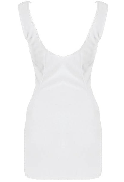 White Open Back Short Fitted Bodycon Dress